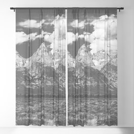 Mountain Summer Escape - Black and White Tetons Sheer Curtain