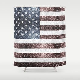 Rustic Red White Blue Sparkles USA flag Shower Curtain