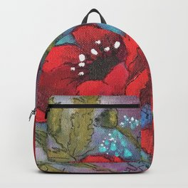 Red Poppy Triplets by SK Sartell Backpack