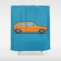 volkswagen Shower Curtains featuring #19 Volkswagen Golf by Brownjames Prints