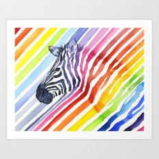 Zebra Rainbow Stripes Colorful Whimsical Animal Art Print