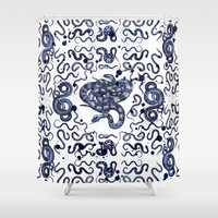 snake Shower Curtains featuring SNAKE by DIVIDUS