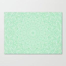 Most Detailed Mandala! Mint Green Color Intricate Detail Ethnic Mandalas Zentangle Maze Pattern Canvas Print