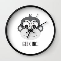 monster inc Wall Clocks featuring geek inc. by ann art