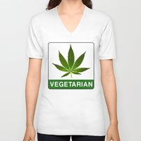 vegetarian V-neck T-shirts featuring VEGETARIAN Weed by Spyck