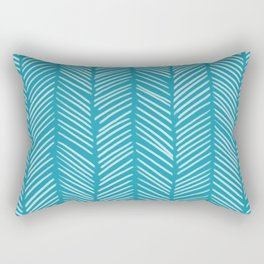 Coastal Blue Herringbone Rectangular Pillow