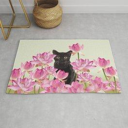Lotos Flower Blossoms Black Cat Rug