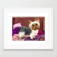 yorkie Framed Art Prints featuring Yorkie by Bark Point Studio