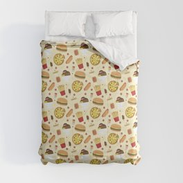 Fast Food Pattern Pizza Burgers & Fries Comforters