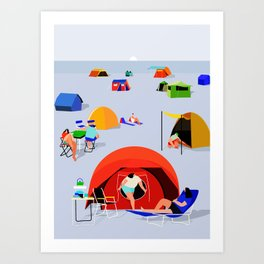 camping on beach Art Print