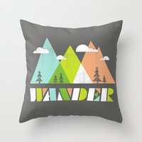 wander Throw Pillows featuring Wander  by Jenny Tiffany