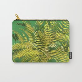 Golden Fern, Floral Painting Green Yellow  Carry-All Pouch