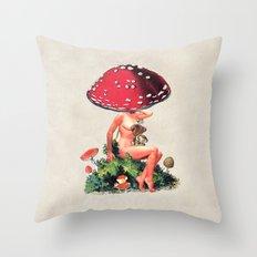 Shroom Girl Throw Pillow