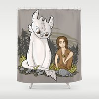 how to train your dragon Shower Curtains featuring How To Train Your Luck Dragon by Lacey Simpson