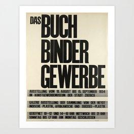 Plakat das buch binder gewerbe Art Print