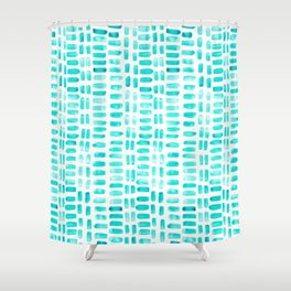 Abstract rectangles - turquoise Shower Curtain