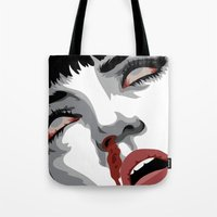 mia wallace Tote Bags featuring There goes mrs. Mia Wallace by The Headless Fish