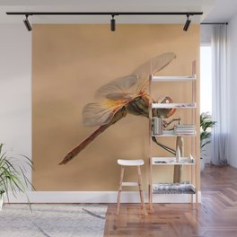 Painted Dragonfly Isolated Against Ecru Wall Mural