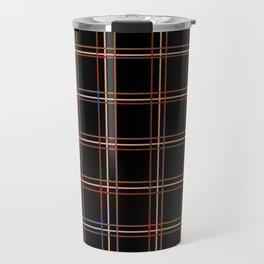 ARREST multi colour lines plaid pattern on black Travel Mug