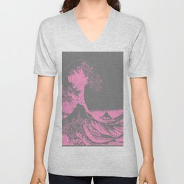 The Great Wave Pink & Gray Unisex V-Neck