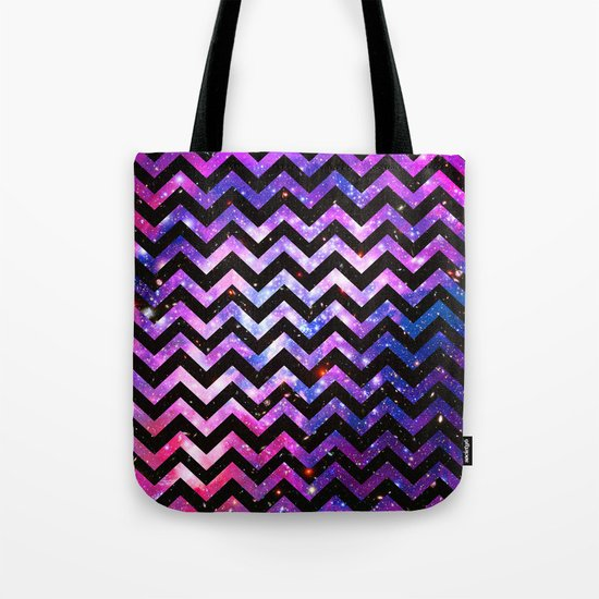 Girly Chevron Pattern Cute Pink Teal Nebula Galaxy Tote Bag