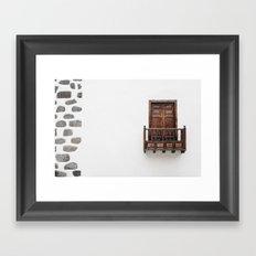 Wooden window door and balcony in a white wall. La Palma, Canary Island. Framed Art Print