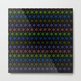 Rainbow Love ASCII Text Pinwheel Spiral Flower Metal Print