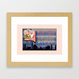 New York state flower vintage greetings from Framed Art Print