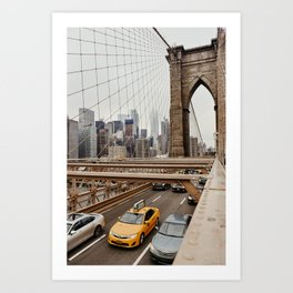 View on the manhatten from the Brooklyn Bridge in New York City, USA | New York City yellow caps driving | Travel photography | NY building architecture photo Art Print  Art Print