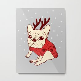 Cream Frenchie in Christmas Sweater Metal Print