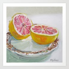 Grapefruit on Brown Transferware Art Print