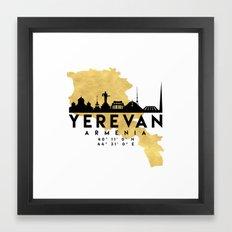 YEREVAN ARMENIA SILHOUETTE SKYLINE MAP ART Framed Art Print