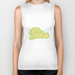 Brocolli Capsicum Onion Drawing Biker Tank