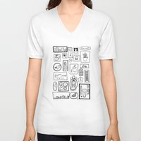 frames V-neck T-shirts featuring Frames II by Duru Eksioglu