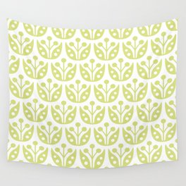 Mid Century Modern Flower Pattern 731 Chartreuse Wall Tapestry