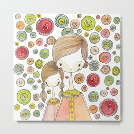 Motherhood Button Collection Metal Print