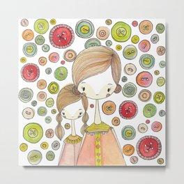 Motherhood Button Collection Metal Print