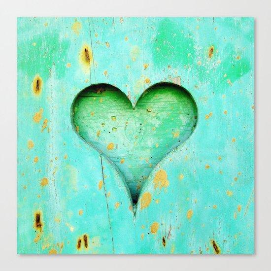 Blue Peeling Paint Wood Heart Canvas Print