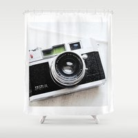camera Shower Curtains featuring Camera by TheWildPlum