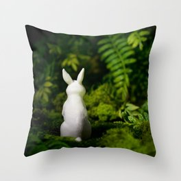 White Bunny with back turned Throw Pillow
