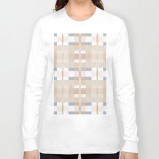 Beige and Blue Color Blocks Geometric Pattern Long Sleeve T-shirt