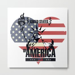 united states of america background flag liberty statue heart icon Metal Print