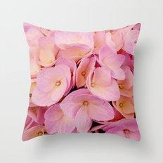 Hydrangea Macro Peach Pink Throw Pillow
