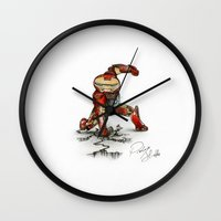 "robert downey jr Wall Clocks featuring Iron-man's ""Roundy"" (Robert Downey Jr.) by Pierluigi Aliotta by Pierluigi Aliotta"