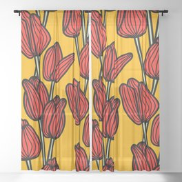 Bright Red Tulips Sheer Curtain