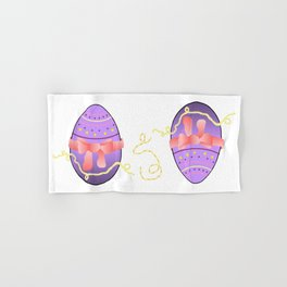 Egg and Pink Bow 01 Hand & Bath Towel