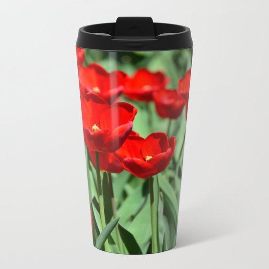 Red Tulips Metal Travel Mug