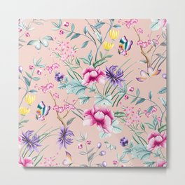Floral Chinoiserie - Pale Dogwood Metal Print