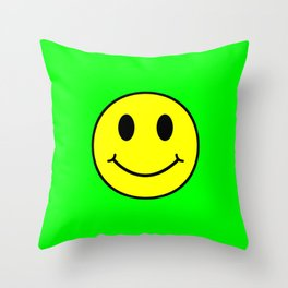 Smiley Happy in yellow color on a green background - EFS170 Throw Pillow