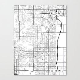 Scottsdale Map, Arizona USA - Black & White Portrait Canvas Print